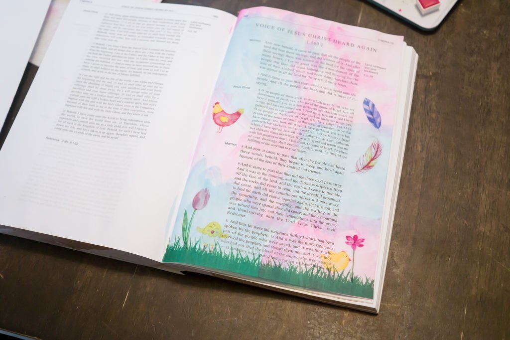 As a Hen Gathereth Her Chickens Under Her Wings Scripture journaling Tutorial | muchnessmama.com
