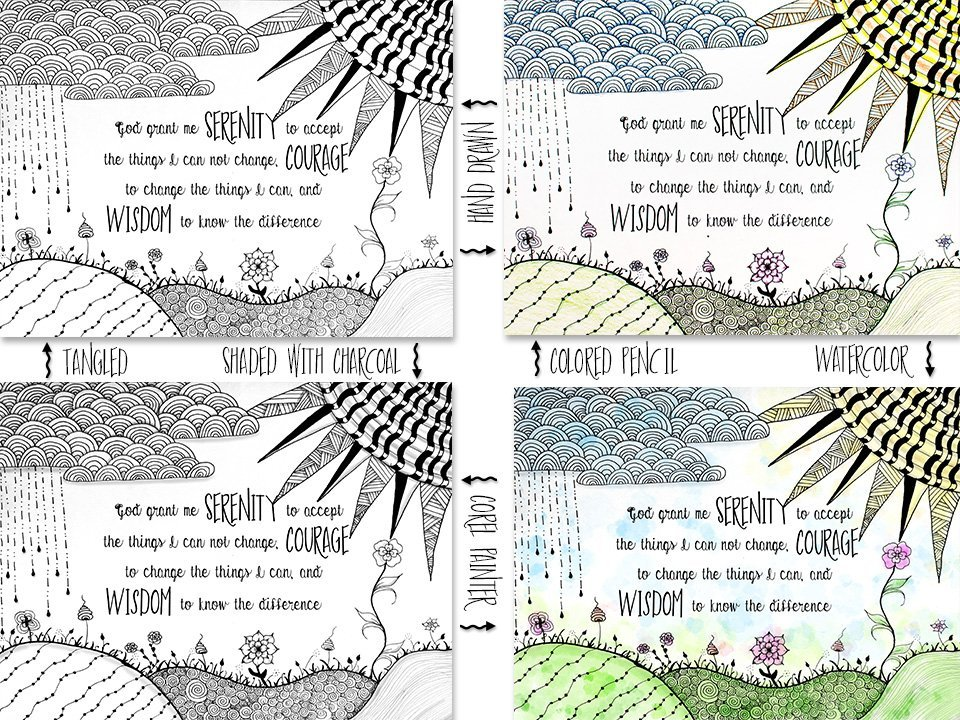 Serenity Prayer surrounded by Zentangle inspired doodle drawings | muchnessmama.com | yoga for the brain | benefits of zentangle