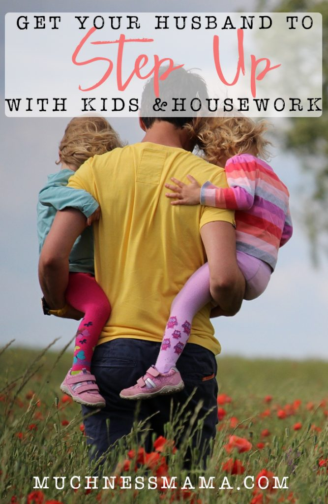 Dad holding his two children in a flower field | Get your Husband to Step Up With Kids and Housework | muchnessmama.com